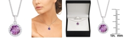 """Macy's Amethyst (1-3/4 ct. t.w.) & Cubic Zirconia Halo 18"""" Pendant Necklace in Sterling Silver"""