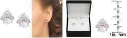 Macy's Mother-of-Pearl & Cubic Zirconia Bee Stud Earrings in Sterling Silver