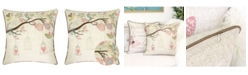 Homey Cozy Lilly Embroidered Linen Square Decorative Throw Pillow
