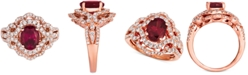 Le Vian Raspberry Rhodolite (1-9/10 ct. t.w.) & Diamond (7/8 ct. t.w.) Ring in 14k Rose Gold