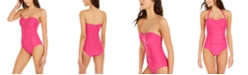 DKNY Liquid Pleated Bandeau Tummy Control One-Piece Swimsuit