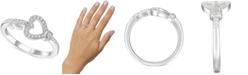 Macy's Diamond Heart & Key Ring (1/6 ct. t.w.) in Sterling Silver