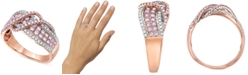 Macy's Certified Pink & White Diamond Crossover Statement Ring (1 ct. t.w.) in 14k Rose Gold