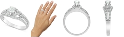 Macy's Diamond (3/4 ct. t.w.) Swirl Engagement Ring in 14k White Gold