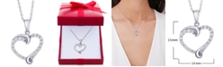 Macy's Diamond Swirl Heart Pendant Necklace (1/2 ct. t.w.) in Sterling Silver, 14k Gold-plated Sterling Silver, or 14k Rose Gold-plated Sterling Silver
