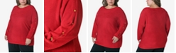 Adrienne Vittadini Women's Plus Size Button Trim Sweater