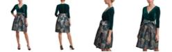 Jessica Howard Velvet & Jacquard Fit & Flare Dress