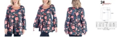 24seven Comfort Apparel Women's Plus Size Floral Print Flared Tunic Top