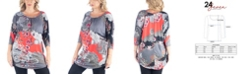 24seven Comfort Apparel Women's Plus Size Three Quarter Sleeves Long Tunic Top