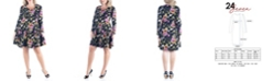 24seven Comfort Apparel Women's Plus Size Floral Print Fit and Flare Skater Dress