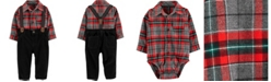 Carter's Baby Boys Plaid Shirt, Pants & Suspenders Set