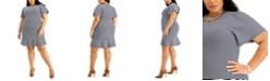 Michael Kors Plus Size Striped Flutter-Sleeve Dress