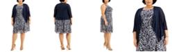 Connected Plus Size Floral-Print Dress & Jacket