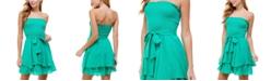 City Studios Juniors' Ruched-Top Tie-Waist Dress