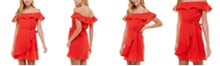 City Studios Juniors' Off-The-Shoulder Ruffled Dress