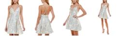 B Darlin Juniors' Metallic Jacquard Dress