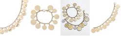 Italian Gold Euro Coin Charm Bracelet in 14k Gold Vermeil