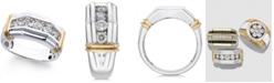 Macy's Men's Diamond (1 ct. t.w.) Ring in 10k White and Yellow Gold
