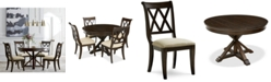 Furniture Baker Street Round Expandable Dining Furniture, 5-Pc. Set (Dining Table & 4 Side Chairs), Created for Macy's