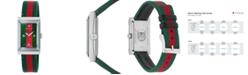 Gucci Women's Swiss G-Frame Green-Red-Green Nylon Strap Watch 21x34mm
