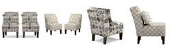 Handy Living Bryce Armless Accent Chair Set in Gray, With Pillows