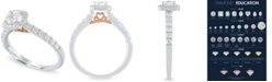 Macy's Diamond Two-Tone Halo Engagement Ring (1 ct. t.w.) in 14k White and Rose Gold