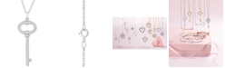 "Macy's Diamond Key 18"" Pendant Necklace (1/5 ct. t.w.) in 14k White Gold"