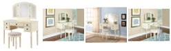 Linon Home Decor Brea Vanity Set with Bench and Mirror
