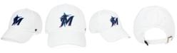 '47 Brand Miami Marlins White CLEAN UP Strapback Cap
