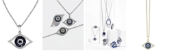 EFFY Collection EFFY® Sapphire (1/4 ct. t.w.) and Black and White Diamond (1/8 ct. t.w.) Evil Eye Pendant in 14k Gold