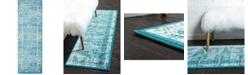 Bridgeport Home Linport Lin1 Turquoise/Ivory 2' x 6' Runner Area Rug