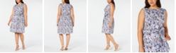 Anne Klein Plus Size Cotton Printed Belted Dress