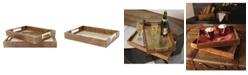 Kate and Laurel Hanneli Wood Nesting Metal Trays, 2 Piece