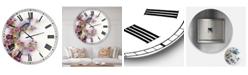 "Designart Cherry Blossom Days Large Cottage Wall Clock - 23"" x 23"" x 1"""