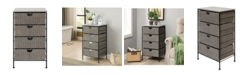 4D CONCEPTS Autumn 4 Drawer Chest With Wood Top, Wicker and Metal