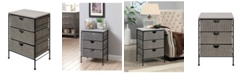 4D CONCEPTS Autumn 3 Drawer Chest With Wood Top, Wicker And Metal