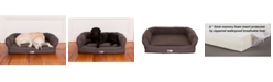 3 Dog Pet Supply Ez Wash Fleece Headrest Memory Foam Dog Bed, Small
