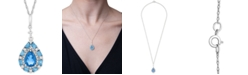 """Macy's Blue Topaz (1-1/2 ct. t.w.) & White Topaz (1/6 ct. t.w.) 18"""" Pendant Necklace in Sterling Silver"""