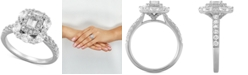 Macy's Diamond Multi-Shape Halo Engagement Ring (1-1/2 ct. t.w.) in 14k White Gold