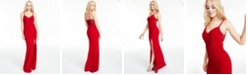 City Studios Juniors' Double-Strap Lace-Back Gown