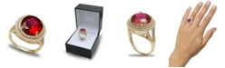 Macy's Cubic Zirconia Halo Statement Ring in Sterling Silver or 18k Gold over Silver