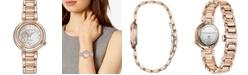 Citizen Citizen Eco-Drive Women's Belle Diamond-Accent Rose Gold-Tone Stainless Steel Bracelet Watch 30mm