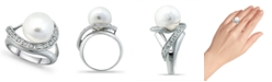 Macy's Imitation Pearl and Pave Cubic Zirconia Swirl Wrap Ring in Fine Silver Plate
