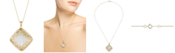 "Macy's Mother-of-Pearl Square Filigree 18"" Pendant Necklace in 14k Gold"