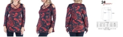 24seven Comfort Apparel Women's Plus Size Paisley Print Cold Shoulder Top