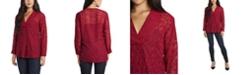 Vince Camuto Women's Long Sleeve V-Neck Jacquard Tunic