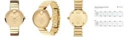 Movado Women's Swiss Edge Gold-Tone PVD Stainless Steel Bracelet Watch 34mm 3680014