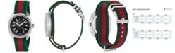 Gucci Men's GG2570 Swiss Green-Red-Green Web Nylon Strap Watch 41mm YA142305