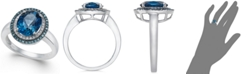 Macy's London Blue Topaz (2-3/4 ct. t.w.), Blue and White Diamond (1/3 ct. t.w.) Oval Ring in 14k White Gold