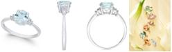 Macy's 14k White Gold Aquamarine (1 ct. t.w.) and Diamond Accent Ring